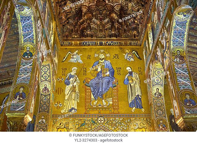 Medieval Byzantine style mosaics of Christ Pantocrator on the end of the main aisle, the Palatine Chapel, Cappella Palatina, Palermo, Italy