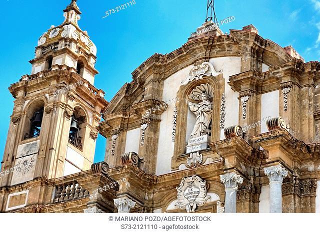 San Domenico church facade, Palermo, Sicily, Italy, Europe
