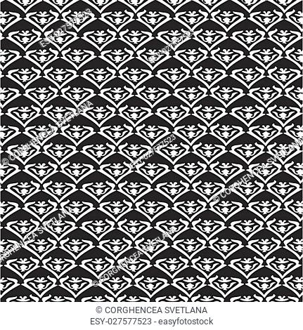 Vector vintage floral pattern, seamless background. Black and white pattern can be used for wallpaper, pattern fills, web page background, surface textures