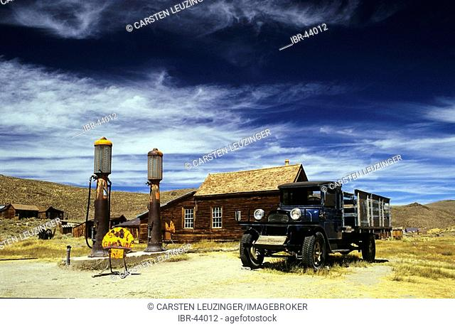 Vintage fuel station with old truck, bodie ghost town, California, USA