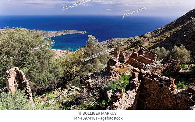 Blue, bay, village, wall, Greece, Europe, island, isle, Crete, coastal scenery, scenery, landscape, Libyan sea, Livaniana, walls, Mediterranean, bay