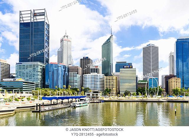 Elizabeth Quay and skyscrapers of Perth CBD, Perth, Western Australia, Australia