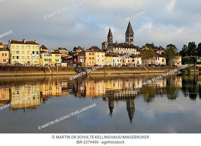 Abbey Church of St. Philibert and Saône river with houseboat, Tournus, Département Saône-et-Loire, France, Europe