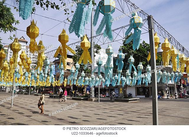 Chiang Mai (Thailand): the square by the Tha Phae Gate, decorated with lamps for the king's birthday