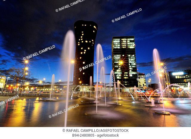 Mobile World Congress area. Fira de Barcelona. Europa square. Hospitalet de Llobregat. Porta Fira hotel and Realia tower by architect Toyo Ito