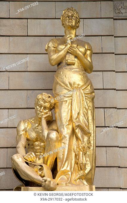 Gold Sculptures on Facade of Royal Dramatic Theatre - Dramaten; Stockholm; Sweden