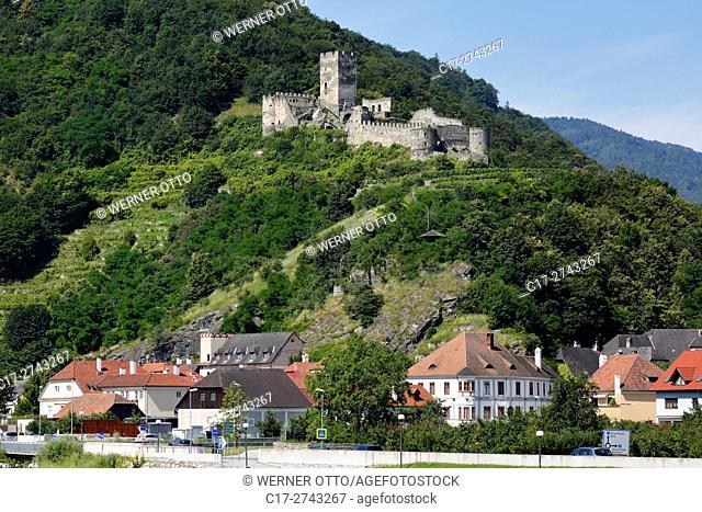 Austria, Lower Austria, A-Spitz an der Donau, Danube, Wachau, Waldviertel, Hinterhaus Ruin on the Jauerling, Jauerlingstock, Hausberg, castle ruin, hill castle