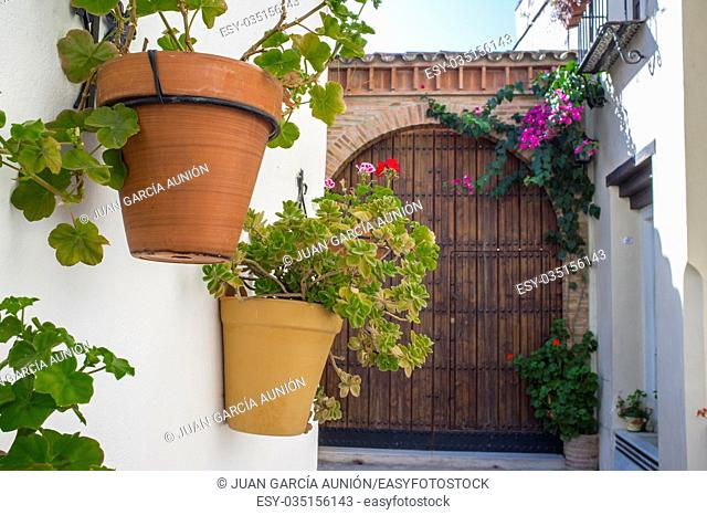 Old town street of Badajoz with flowers decorated as Al-andalus style, Spain