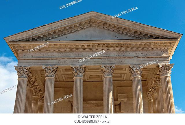 Detail of Maison Carree facade, Nimes, Languedoc-Roussillon, France