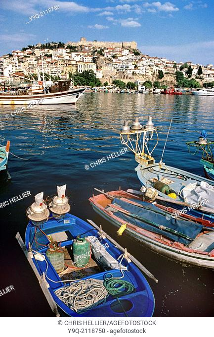 Old Town Port or Harbour with Fishing Boats Kavalla eastern Macedonia Greece