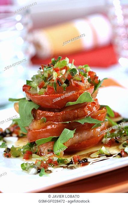 Smoked salmon anf tomato millefeuille