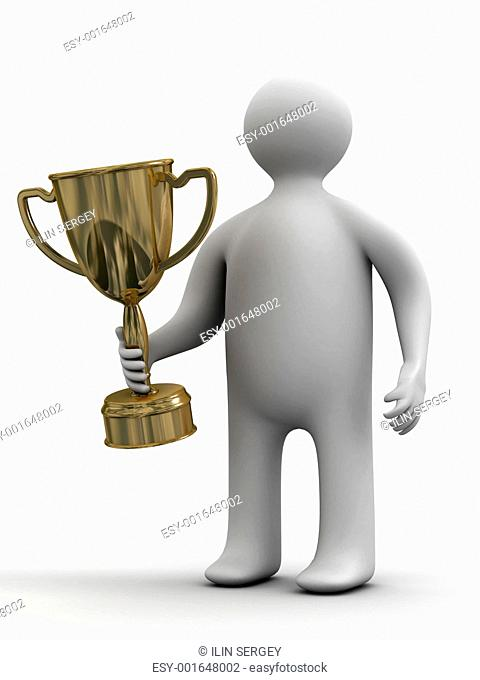champion with a cup. Isolated 3D image