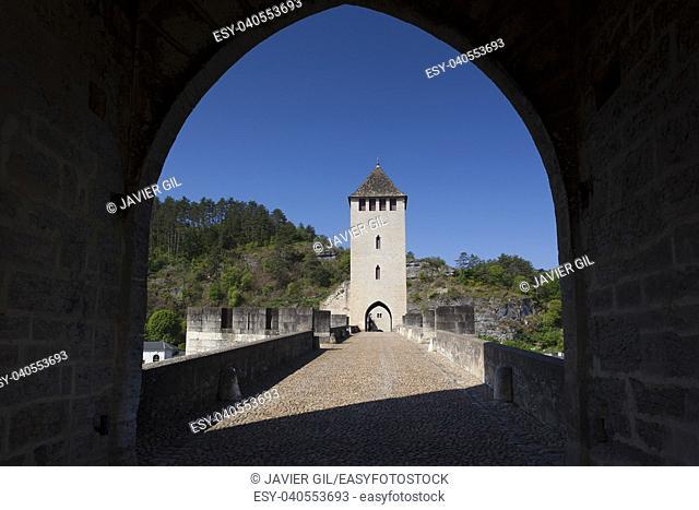 Valentre bridge in Cahors, Lot department, Occitanie, France