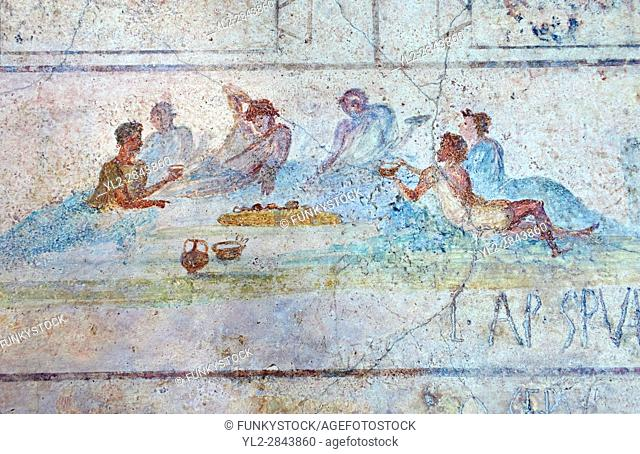 Roman Fresco of a symposium exotic bird from The Large Columbarium in Villa Doria Panphilj, Rome. A columbarium is usually a type of tomb with walls lined by...