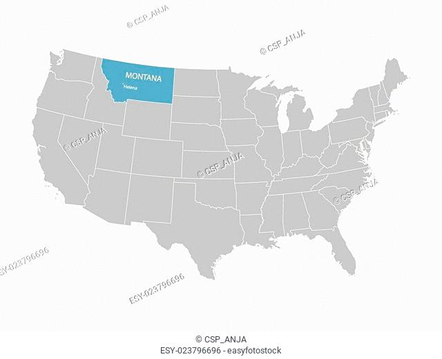 grey vector map of United States with indication of Montana