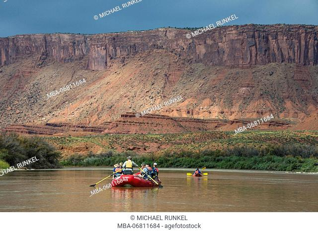Kayaking and Rafting down the Colorado river, Castle valley near Moab, Utah, USA