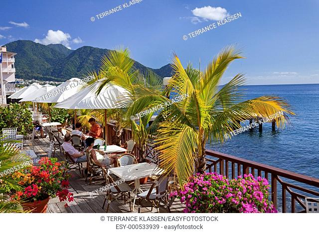 Waterfront restaraunts in Roseau, Dominica, West Indies