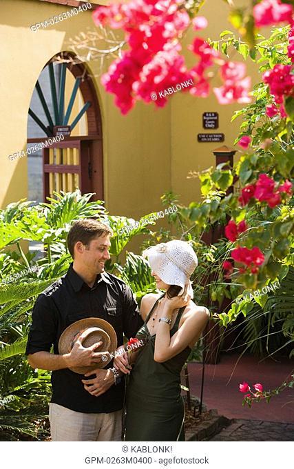 Romantic couple in garden patio