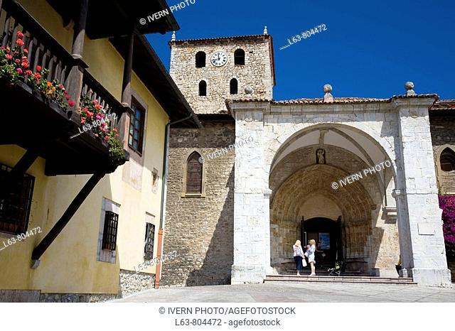 St. Mary's Basilica in Cristo Rey Square, Llanes. Asturias, Spain