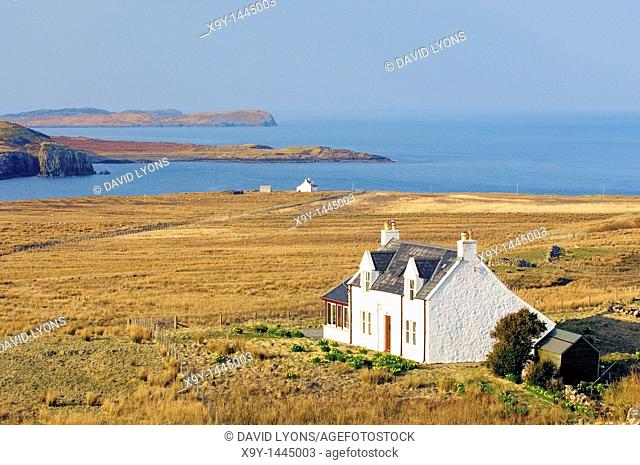 Isle of Skye, Inner Hebrides, Scotland  Houses at Balmacqueen on the islands northern tip on the Trotternish peninsula