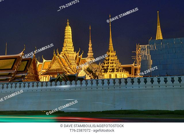 Wat Phra Kaew, Temple of the Golden Buddha, seen at night, Bangkok, Thailand