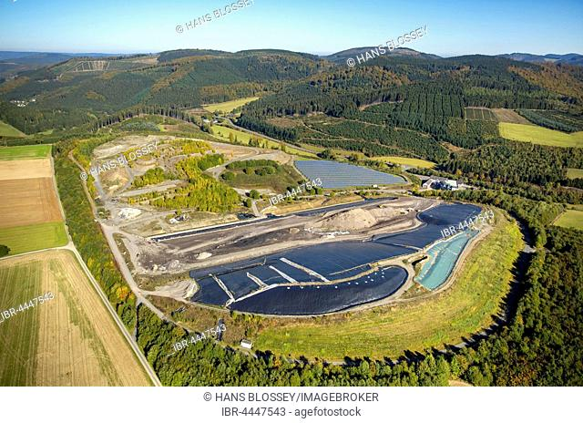 Landfill, aerial, Frielinghausen, Meschede, Sauerland, North Rhine-Westphalia, Germany