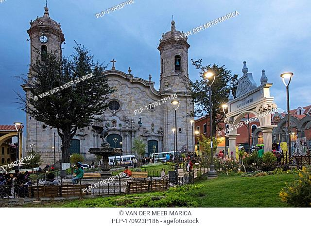 Cathedral Basilica of Our Lady of Peace in Neoclassical style at the plaza 10 de Noviembre at dusk in the city Potosi, Tomás Frías, Bolivia