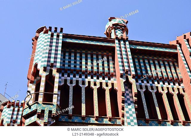 Casa Vicens 1878-1880 by Antoni Gaudi architect. Barcelona. Catalonia, Spain