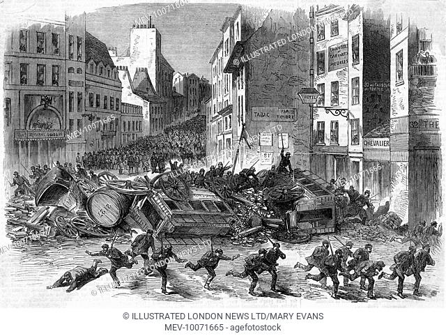 Citizens fleeing from the barricade they have erected out of overturned carriages as troops pour over the top during pre-Commune riots in Paris