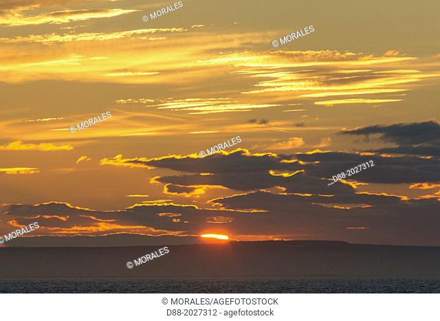 Russia , Chukotka autonomous district , sunset with the mountains in the background