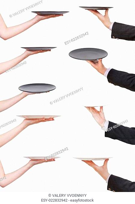 palm with empty flat black plate