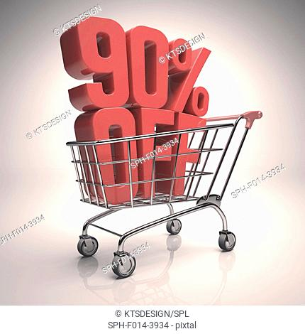 Shopping trolley with 90 per cent off sign, illustration