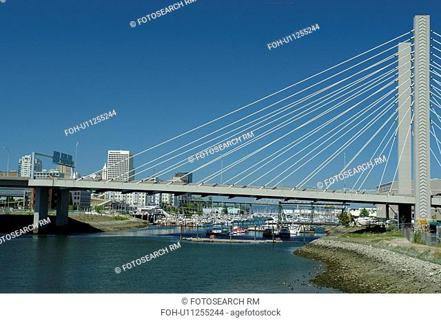 Tacoma, WA, Washington, Puget Sound, SR 509 Cable-stayed Bridge, Thea Foss Waterway