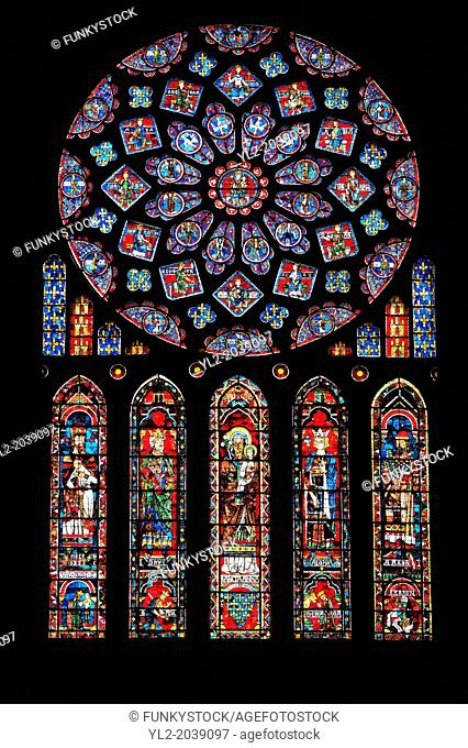 Medieval Rose Window of the North Transept of the Gothic Cathedral of Chartres, France- Circa 1235. A UNESCO World Heritage Site. The 10