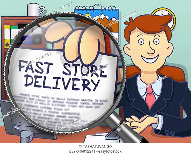 Fast Store Delivery on Paper in Officeman's Hand to Illustrate a Business Concept. Closeup View through Magnifying Glass