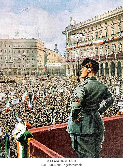 Duce's speech in the Piazza Duomo in Milan, by Achille Beltrame (1871-1945) from an issue of La Domenica del Corriere, May 1930