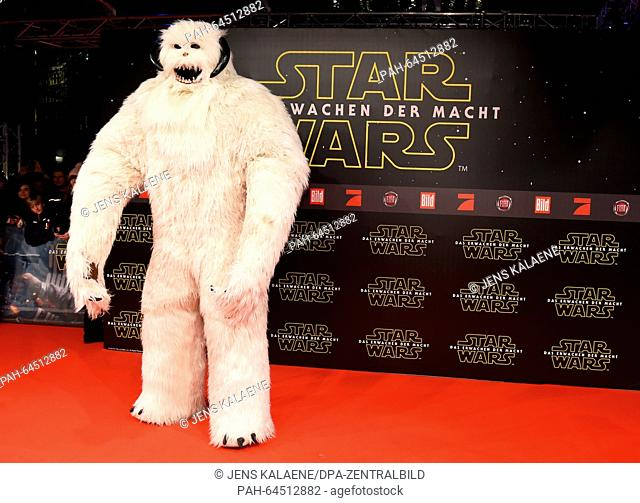 A wampa ice creature poses on the red carpet at the German premiere of the new film 'Star Wars:The Force Awakens' in the Zoo Palast cinema inBerlin,Germany