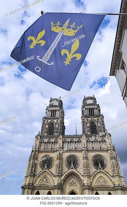 Coat of Arms of Joan of Arc, Facade of Orleans Cathedral, Cathedral of the Holy Cross, Orleans City, Loiret Department, The Loire Valley, France, Europe