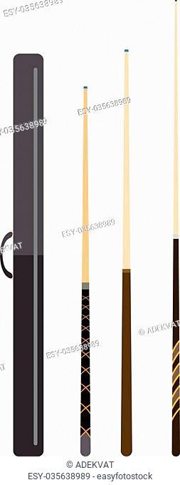 Snooker cue billiard sticks cartoon flat vector illustration on white background or billiard snooker cue play game tool. Snooker cue sport equipment