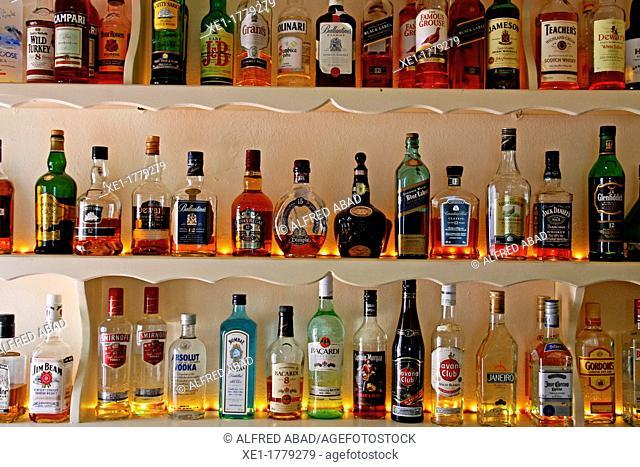 bar, liquor, Oia, Santorini, Greece