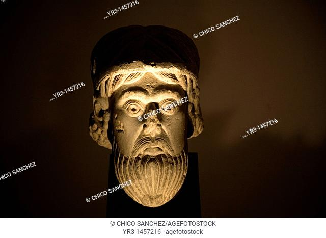 A Romanesque head sculpture form the XII century is displayed in the Museum of the Cathedral of Astorga, Spain
