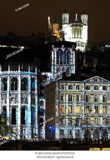 Festival of Lights with Basilica Notre Dame de Fourviere, Lyon, Auvergne-Rhone-Alps, France