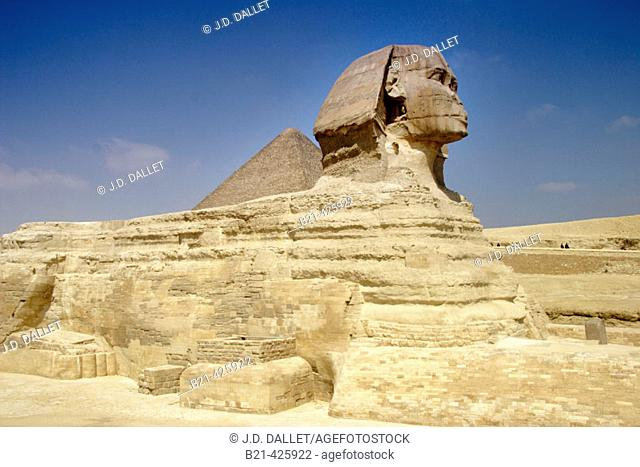 Sphinx and Keops Pyramid, Giza. Egypt