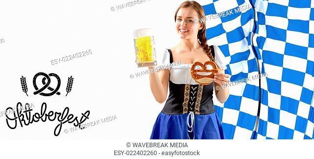 Composite image of oktoberfest girl holding beer and pretzel