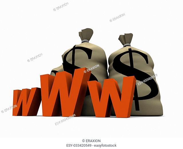 3d rendered illustration of money sacks and an internet sign