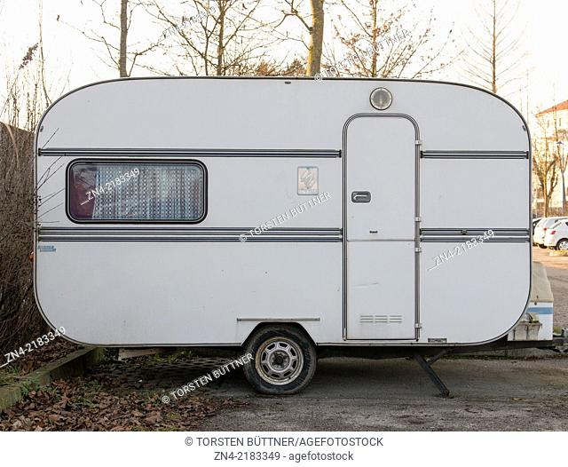 Parked camping trailer, Bad Schallerbach, Austria