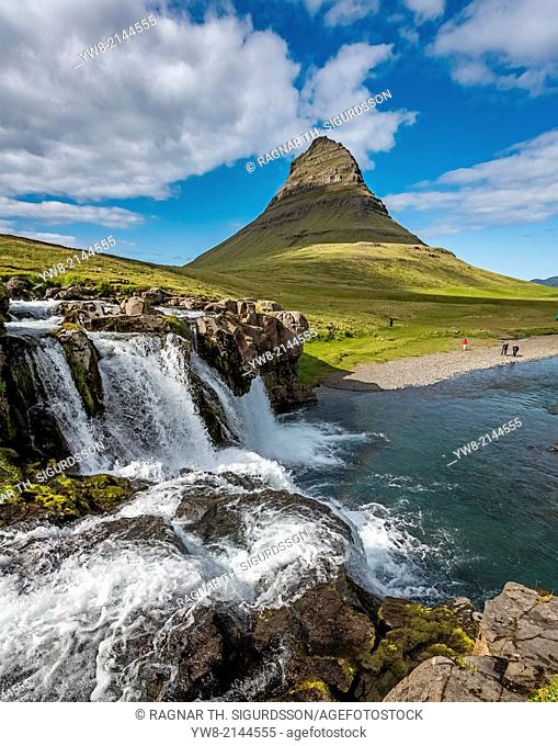 Kirkjufellsfoss Waterfalls, Grundarfjordur, Snaefellsnes Peninsula, Iceland