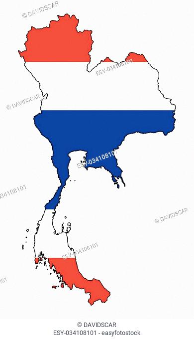 A Thailand map with flag isolated on a white background
