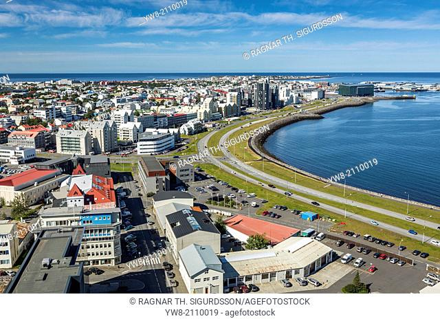 Elevated view of Reykavik, Iceland