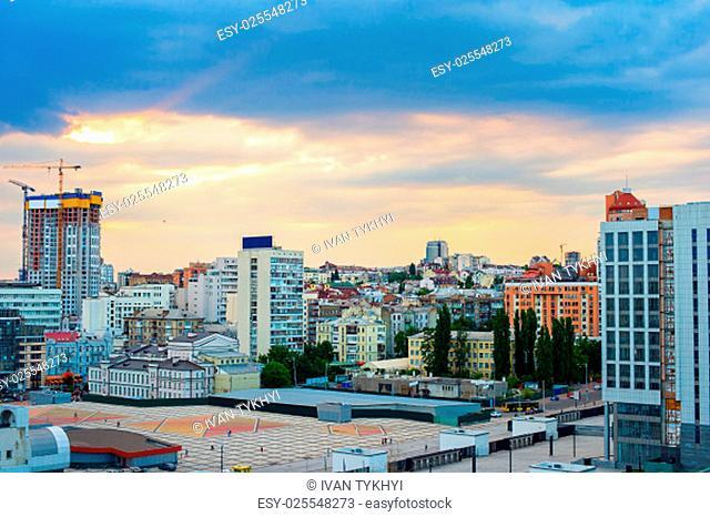 View of Kiev city center at sunset. Ukraine